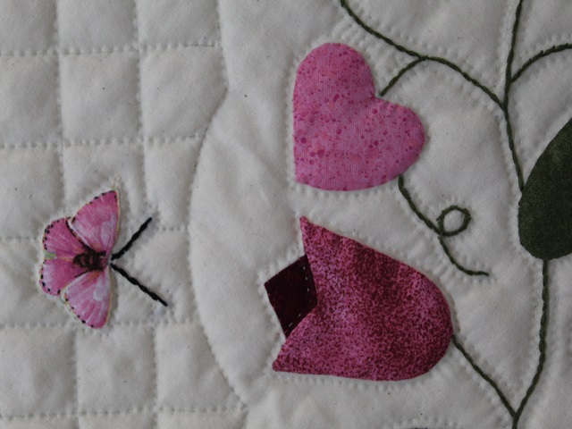 Burgundy and Pink Hearts and Tulips Quilt Photo 8