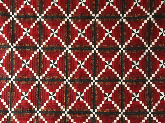Dark Red and Green Pinwheel Cornerstone Quilt Photo 3