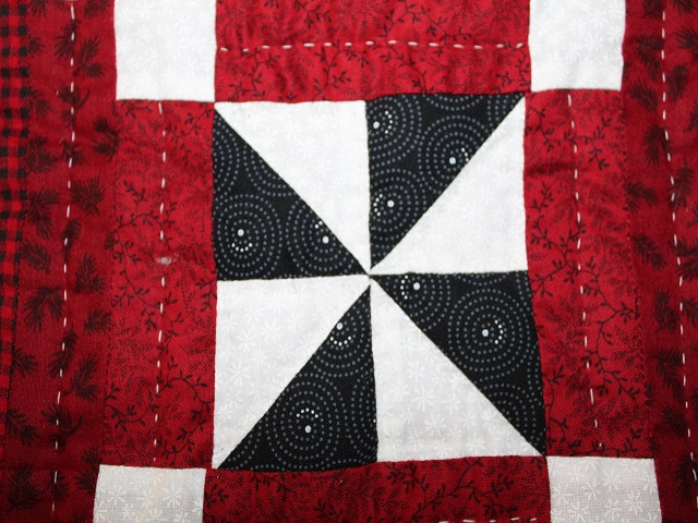 Dark Red and Green Pinwheel Cornerstone Quilt Photo 5