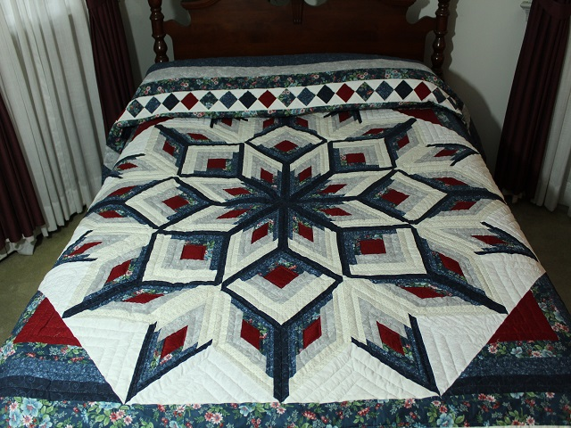 Blue and Red Starburst Quilt Photo 1