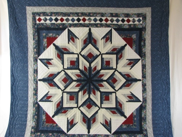 Blue and Red Starburst Quilt Photo 2
