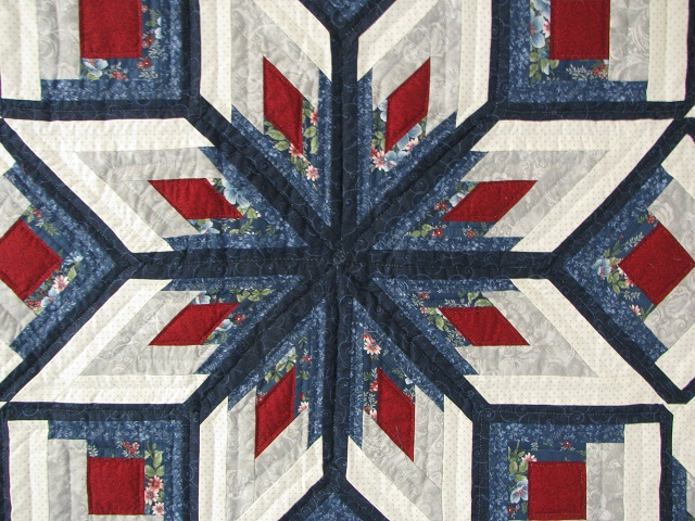 Blue and Red Starburst Quilt Photo 3