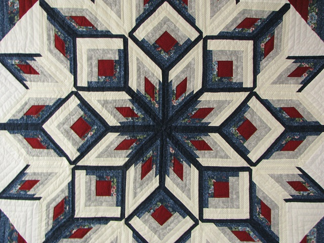 Blue and Red Starburst Quilt Photo 8