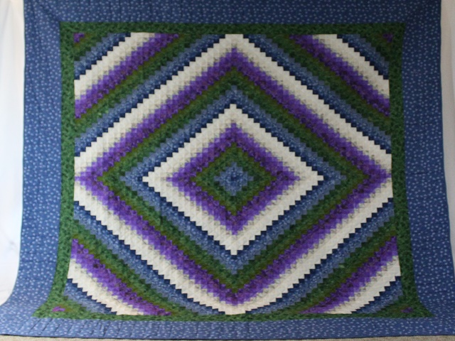 Blue Green and Purple Trip Around the World Quilt Photo 2