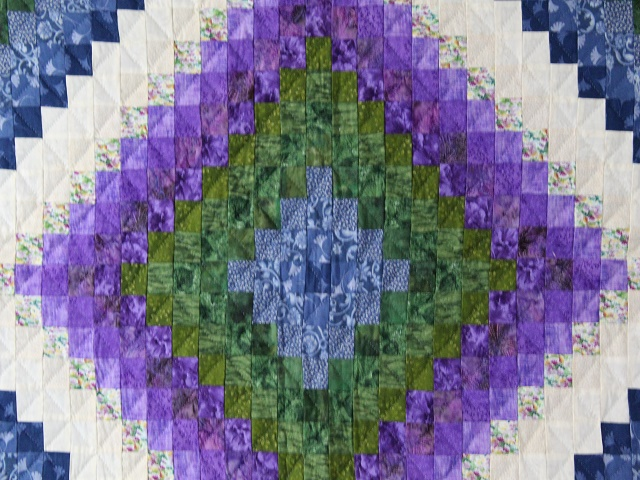 Blue Green and Purple Trip Around the World Quilt Photo 3