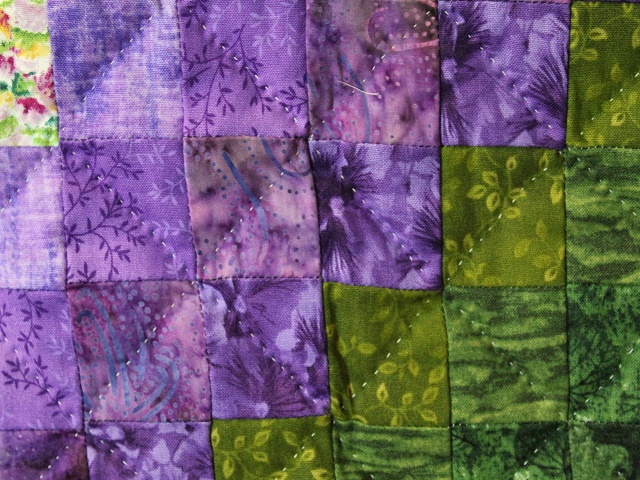Blue Green and Purple Trip Around the World Quilt Photo 6