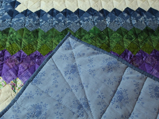 Blue Green and Purple Trip Around the World Quilt Photo 7