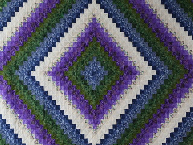 Blue Green and Purple Trip Around the World Quilt Photo 8