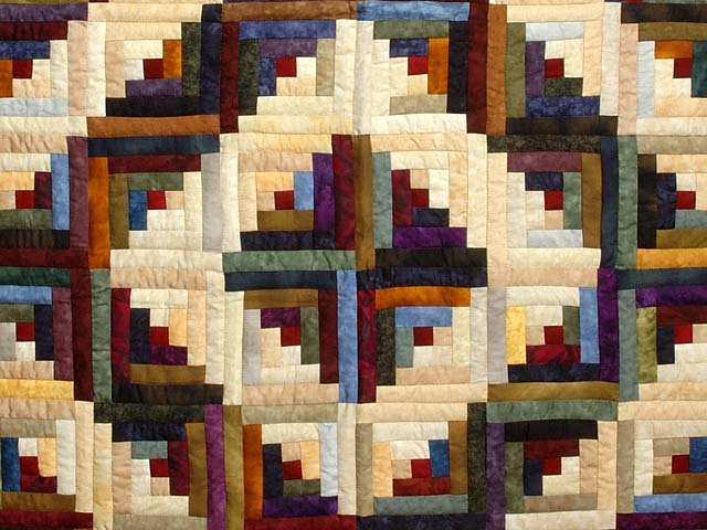 Marbled Log Cabin Quilt