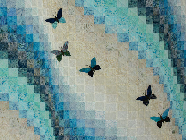 The Journey - King Quilt in Blues A combo of piecing, hand appliquéing, hand quilting Photo 4