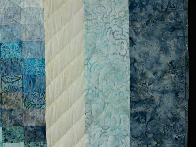 The Journey - King Quilt in Blues A combo of piecing, hand appliquéing, hand quilting Photo 5