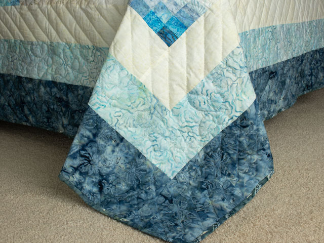 The Journey - King Quilt in Blues A combo of piecing, hand appliquéing, hand quilting Photo 7