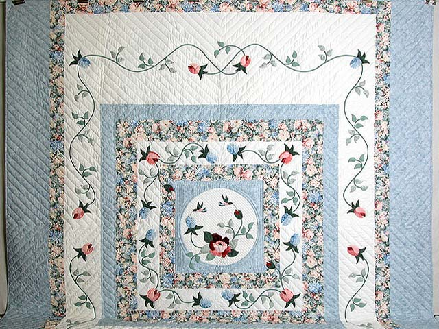 King Pastel Blue and Peach I Promised You a Rose Garden Quilt Photo 2
