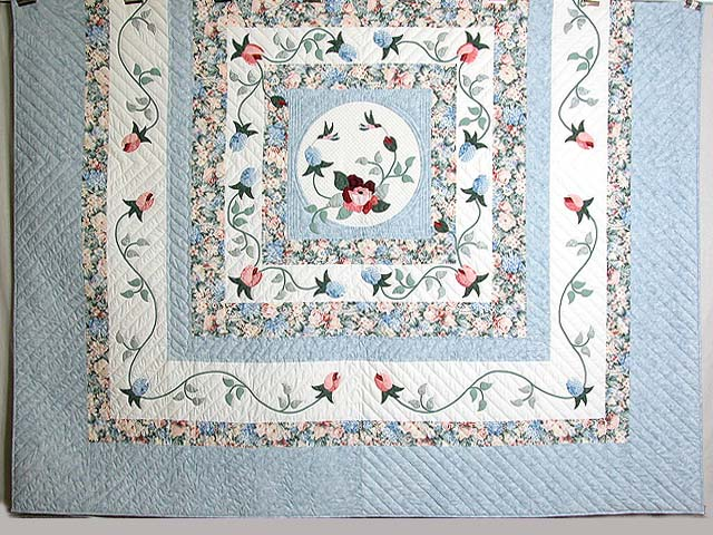 King Pastel Blue and Peach I Promised You a Rose Garden Quilt Photo 3