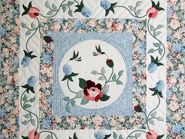 King Pastel Blue and Peach I Promised You a Rose Garden Quilt Photo 4