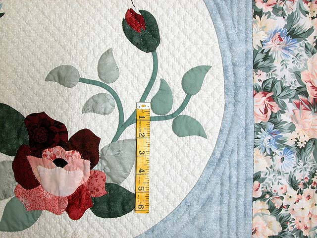 King Pastel Blue and Peach I Promised You a Rose Garden Quilt Photo 5