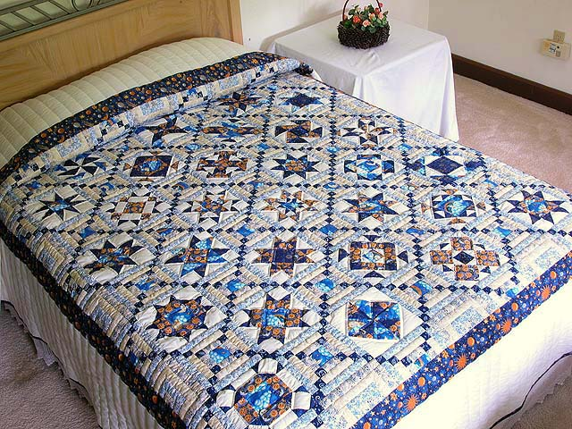 Blue and Gold Patchwork Sampler Quilt Photo 1