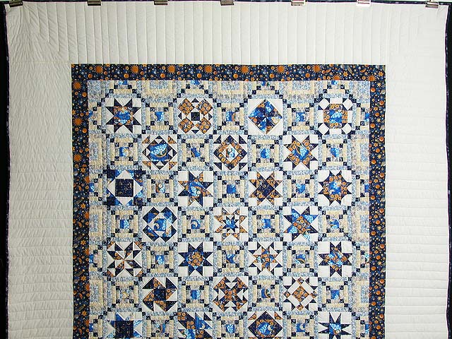 Blue and Gold Patchwork Sampler Quilt Photo 2