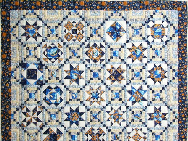 Blue and Gold Patchwork Sampler Quilt Photo 3