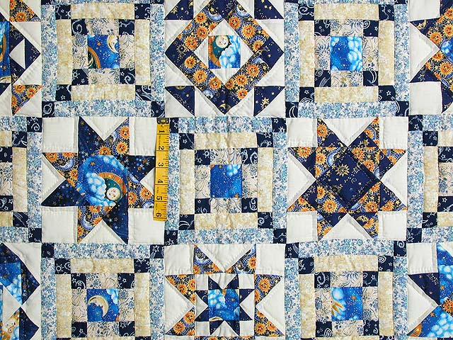 Blue and Gold Patchwork Sampler Quilt Photo 4
