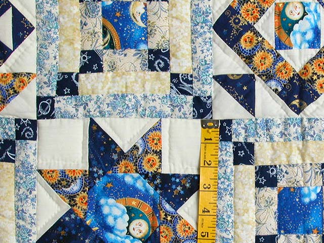 Blue and Gold Patchwork Sampler Quilt Photo 5