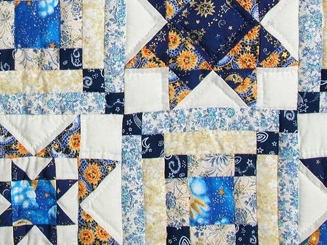 Blue and Gold Patchwork Sampler Quilt Photo 6