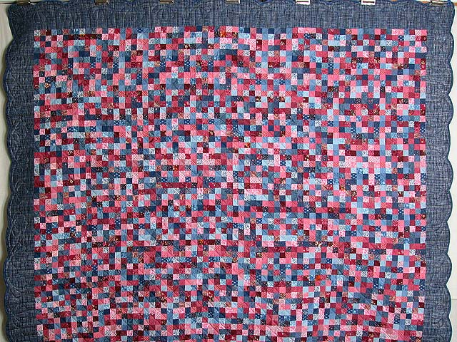 Blue and Rose Postage Stamp Quilt Photo 2