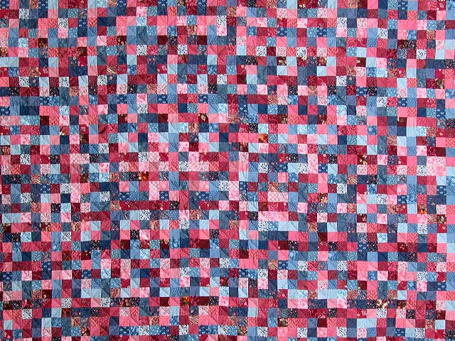 Blue and Rose Postage Stamp Quilt Photo 3