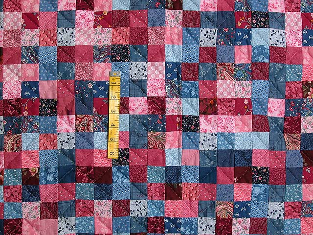 Blue and Rose Postage Stamp Quilt Photo 4