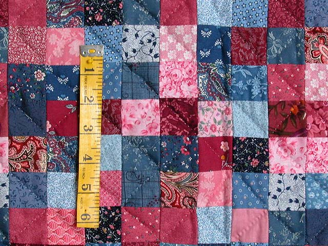 Blue and Rose Postage Stamp Quilt Photo 5