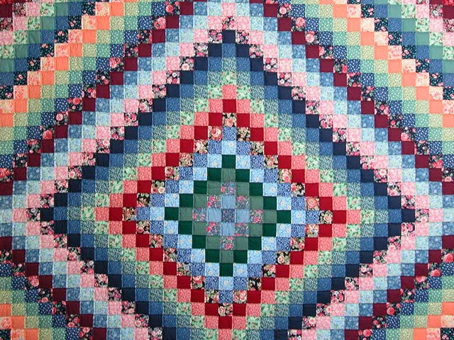 Green Burgundy and Multi Trip Around the World Quilt Photo 3
