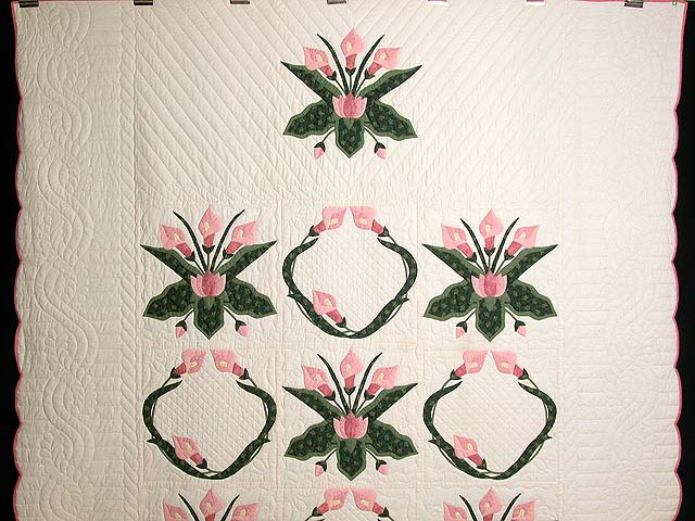 Rose and Green Country Lily Quilt Photo 2