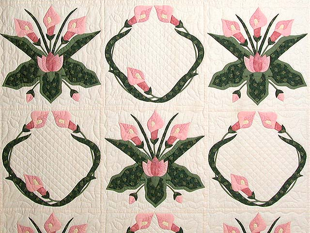 Rose and Green Country Lily Quilt Photo 3