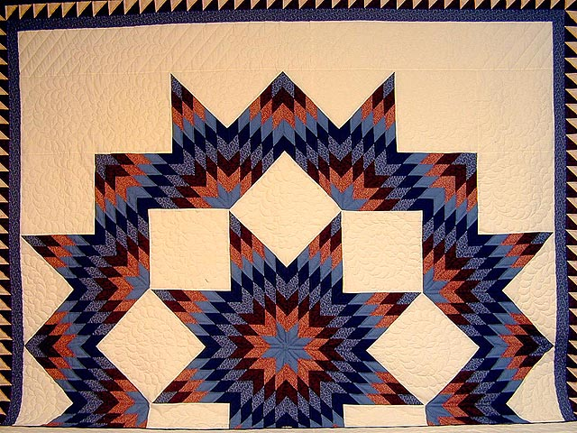 Brick Reds and Blue Broken Star Quilt Photo 2