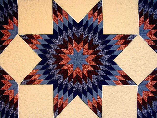 Brick Reds and Blue Broken Star Quilt Photo 4