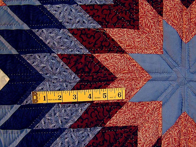 Brick Reds and Blue Broken Star Quilt Photo 7