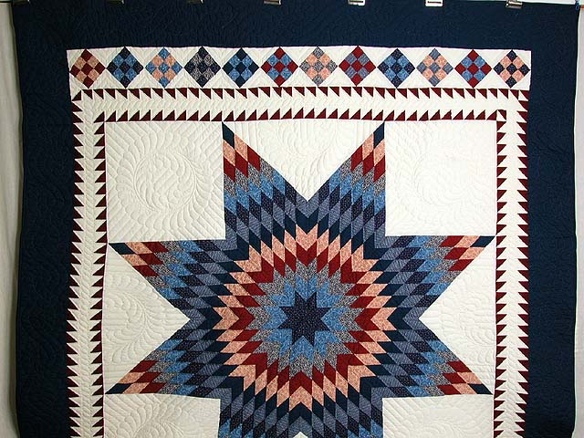 Navy and Burgundy Star of Bethlehem Quilt Photo 2