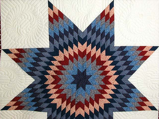 Navy and Burgundy Star of Bethlehem Quilt Photo 3