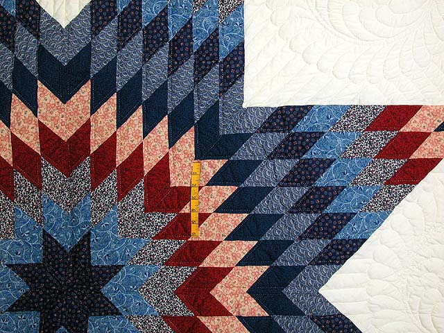 Navy and Burgundy Star of Bethlehem Quilt Photo 4