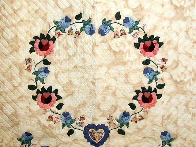 Blue Rose and Tan Heart of Roses Quilt Photo 3