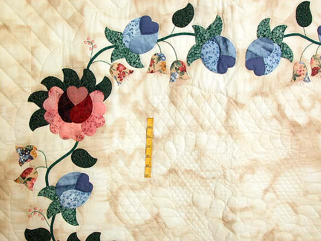 Blue Rose and Tan Heart of Roses Quilt Photo 4