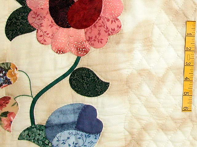 Blue Rose and Tan Heart of Roses Quilt Photo 5