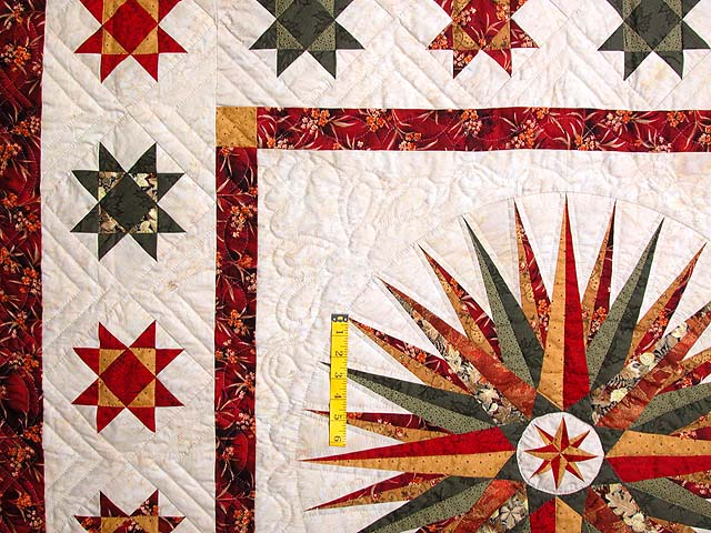 Red Green and Gold Mariner Compass Quilt Photo 4