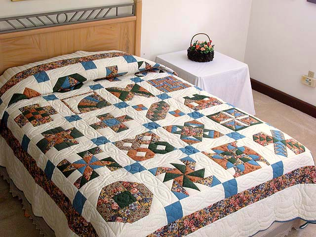 Blue and Multicolor Patchwork Sampler Quilt Photo 1