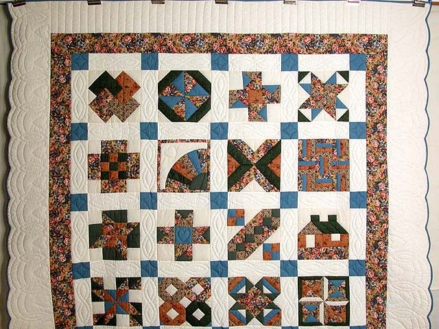 Blue and Multicolor Patchwork Sampler Quilt Photo 2