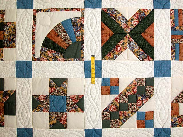 Blue and Multicolor Patchwork Sampler Quilt Photo 4