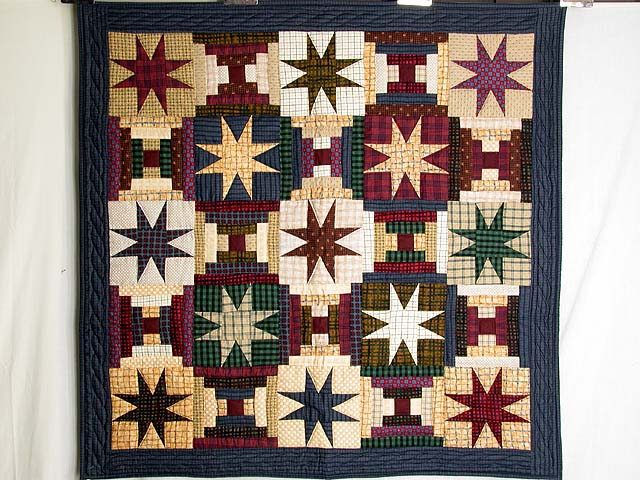 Plaid Navy and Multi Courthouse Stars Wall Hanging Photo 1