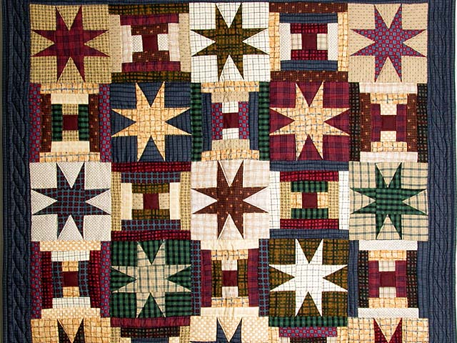 Plaid Navy and Multi Courthouse Stars Wall Hanging Photo 2