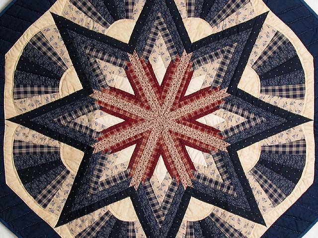 Navy and Wine Octagon Star Table Throw Photo 2