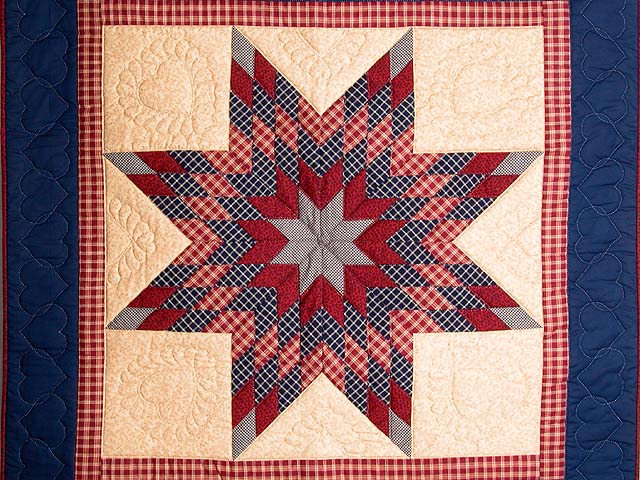 Plaid Navy Red and Tan Lone Star Wall Hanging Photo 2